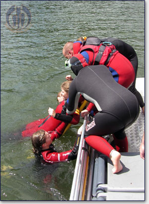 rettung in Boot mit Spineboard